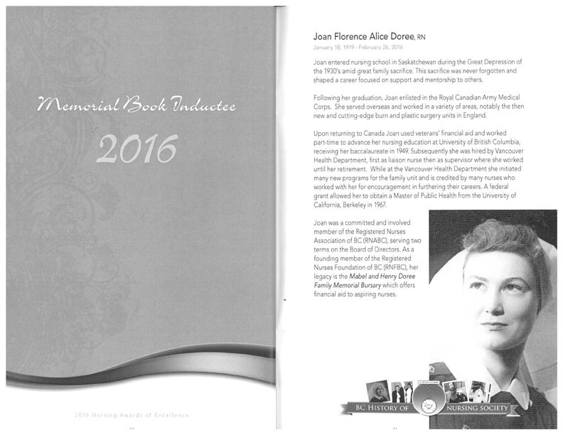 Joan Doree ARNBC Memorial Book